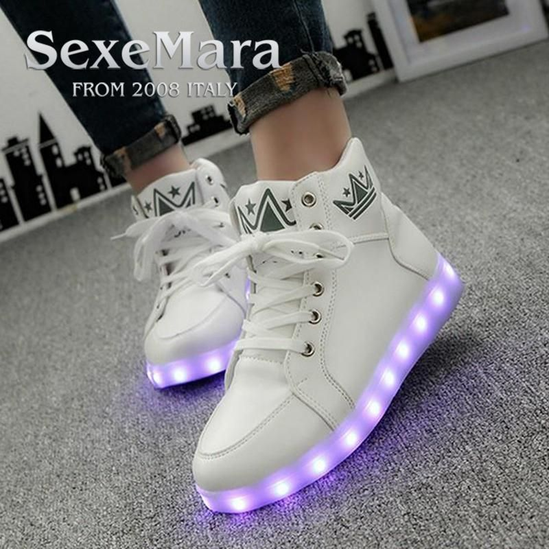 Women LED Lights Round Toe High Wedge Platform Dance Shoes Sneakers Lace Up