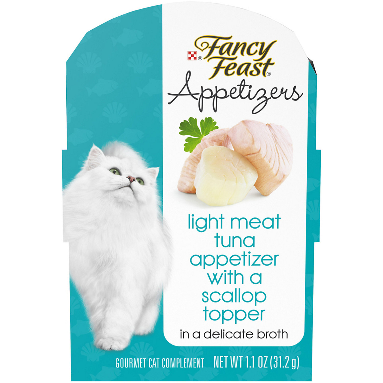 Fancy Feast Appetizers Light Meat Tuna With A Scallop Topper Wet Cat Food 1 1 Oz Case Of 10 Cat Food Canned Cat Food Appetizers