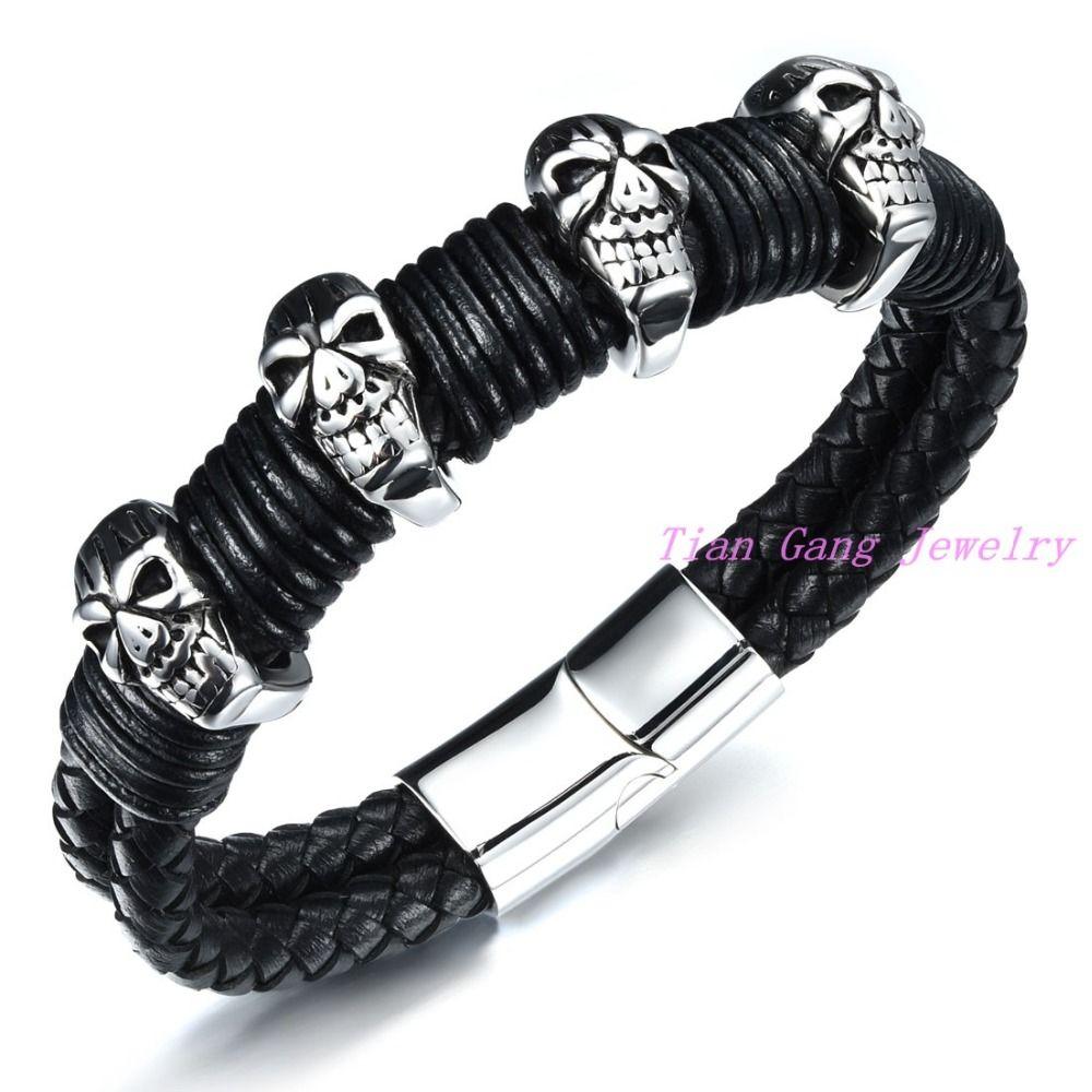 High Quality Fashion Jewelry Leather Bracelet Men Stainless Steel Skull Bracelets For Women Best Friend Gift