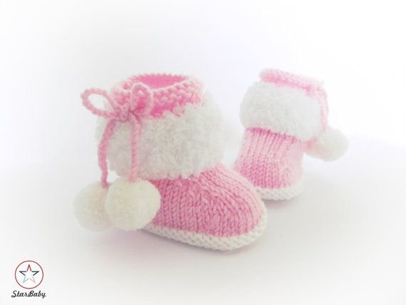Baby Booties, Knitted Booties, Pink Boots, Furry Booties, Fluffy ...