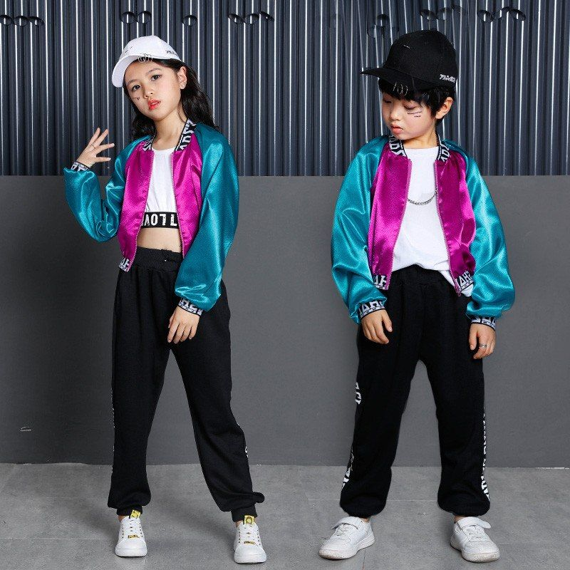 d120a1ed7 New Korean Style Long Sleeve Hip Hop Dance Clothes For Kids Boys Girls  Children Jazz Hip Hop Pop Suit Street Dance Wear Costumes