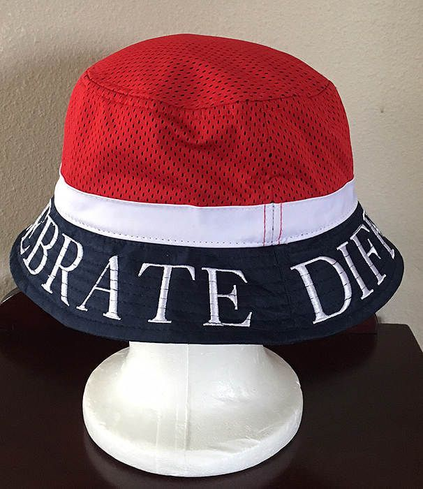 5a66d56b2d4 CIVIL REGIME CELEBRATE DIFFERENCE RED WHITE BLUE MESH BUCKET HAT NWT   CivilRegime  Bucket