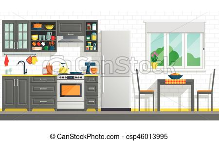 Kitchen Furniture With Appliances Vector Stock Illustration Royalty Free Illustrations Stock Clip Ar Black Appliances Kitchen Kitchen Furniture Break Wall