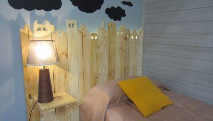 hacer cabecero de madera con forma de casas cabecero diy - Como Hacer Un Cabecero De Madera