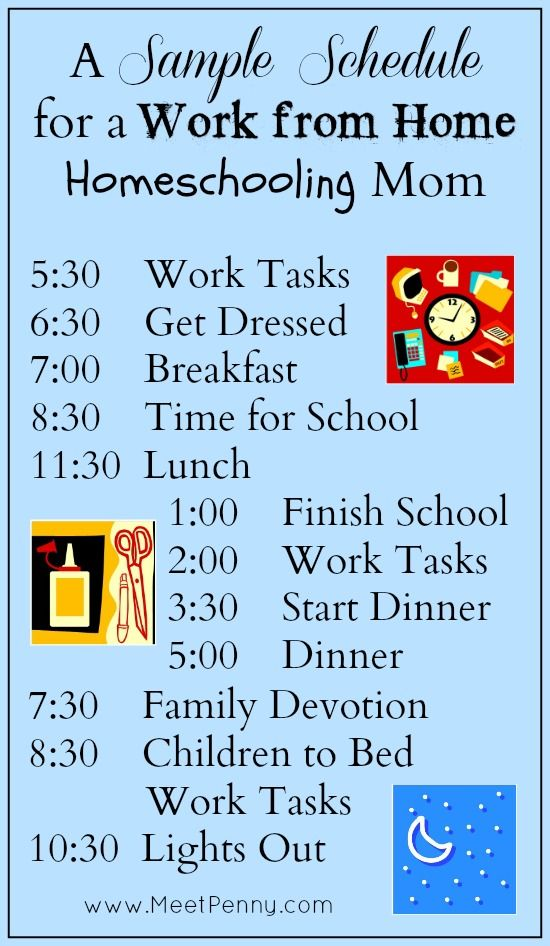 A Day in The Life of a Work from Home Homeschooling Mom Routine - sample schedules schedule sample in word