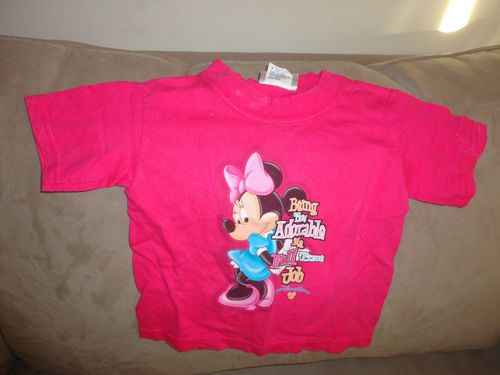 Girls Walt Disney World Kids Pink T Shirt Minnie Mouse Being This Adorable... 2T find me at www.dandeepop.com