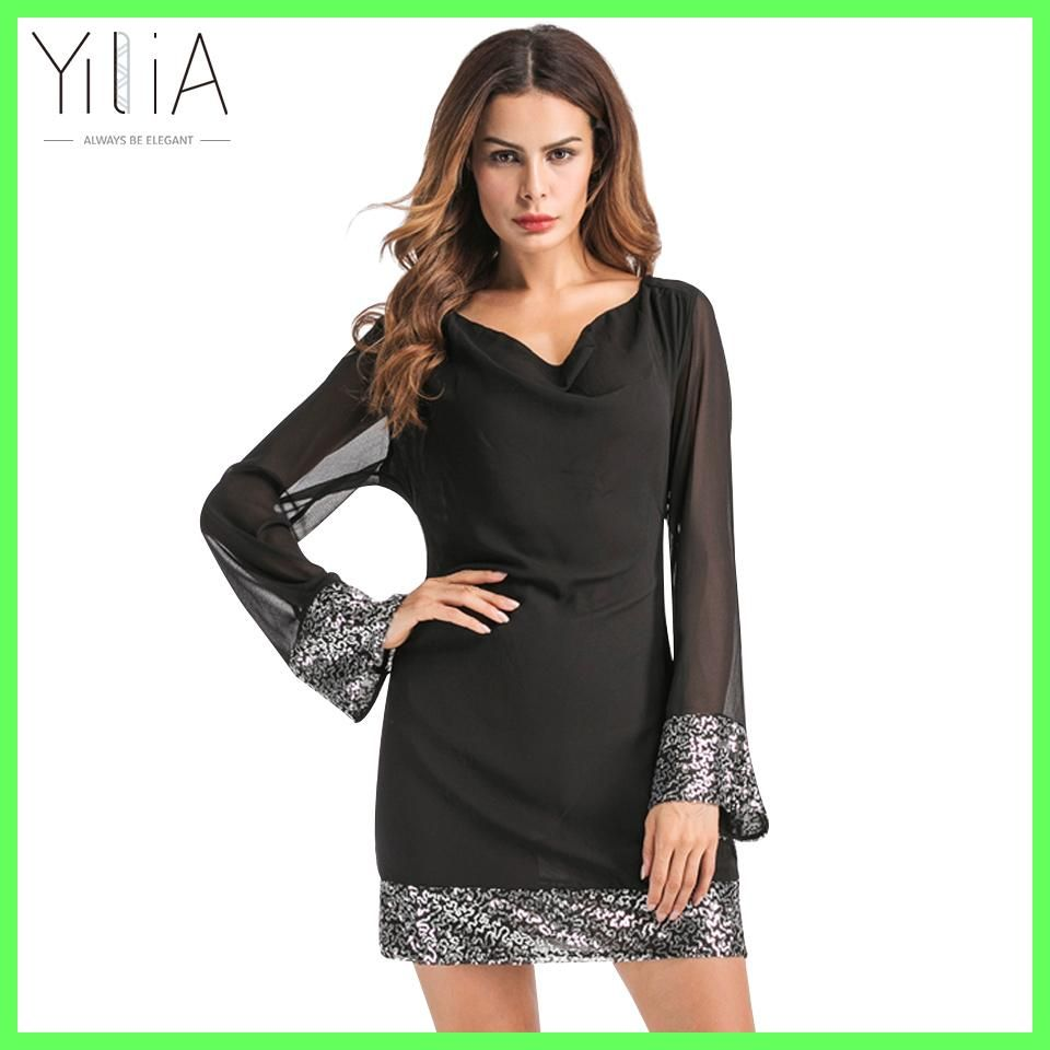 Yilia women autumn summer mini dress sexy sequins patchwork