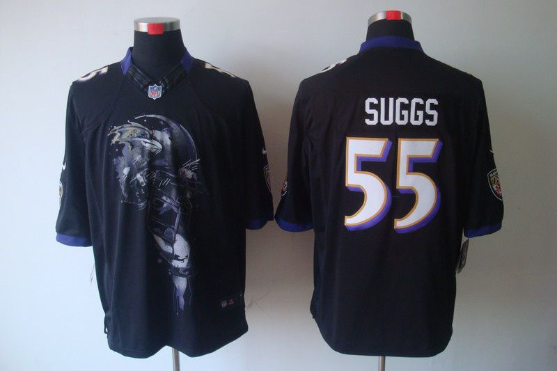terrell suggs black jersey nike baltimore ravens 55 mens helmet tri blend limited