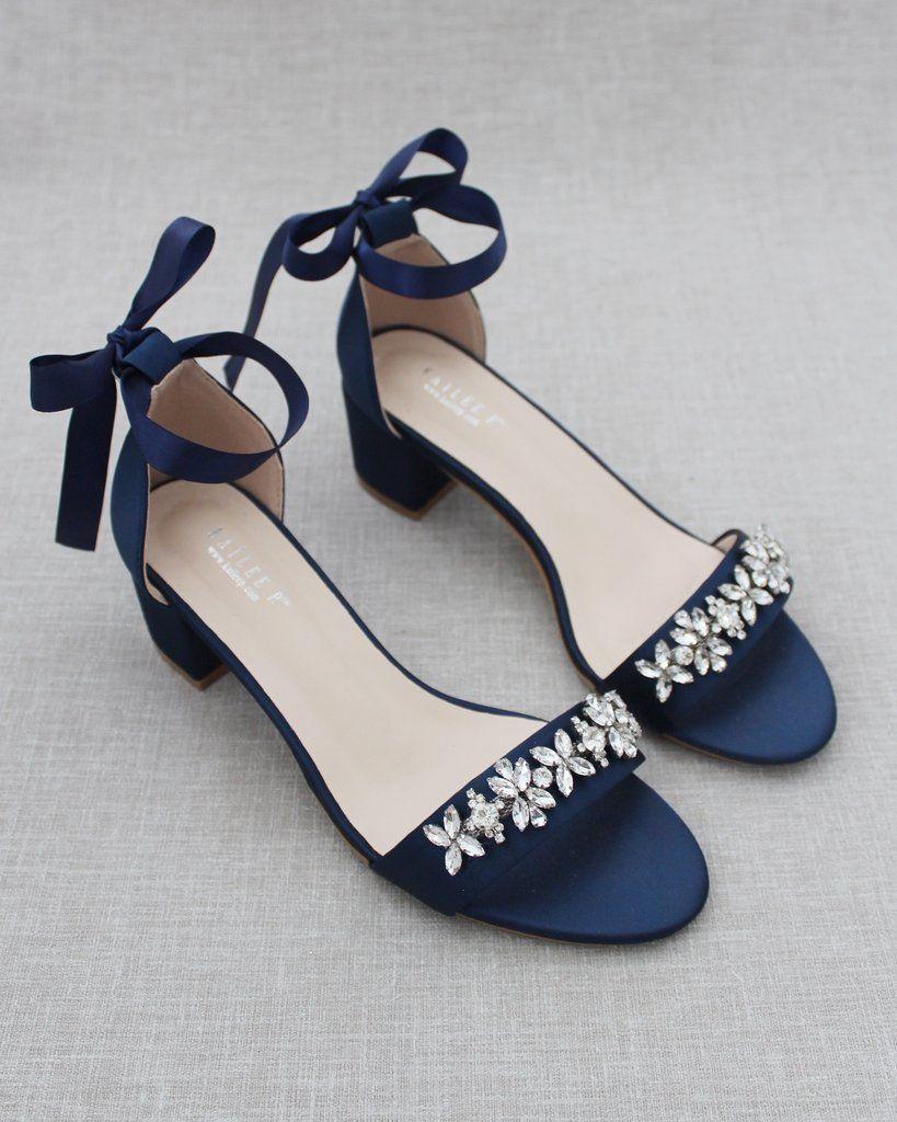 Navy Blue Satin Block Heel Sandals with