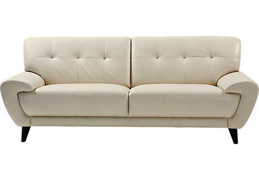 Picture Of Cindy Crawford Home Midtown East Pearl Leather Sofa From