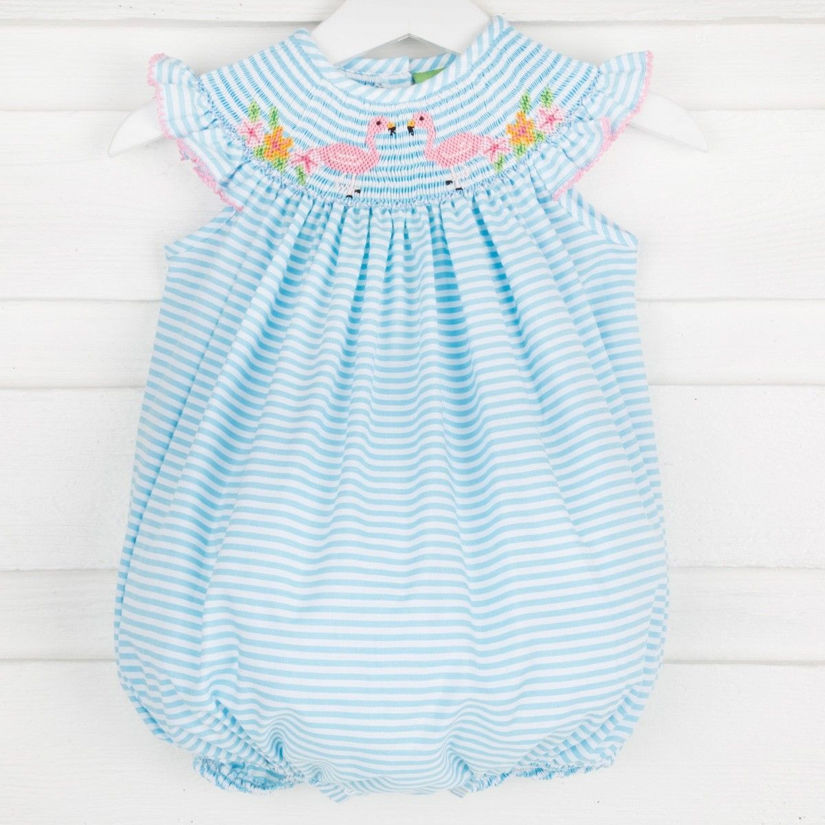 ff1be90d90c Smocked Flamingo Bubble Turquoise Stripe - New Smocked Auctions