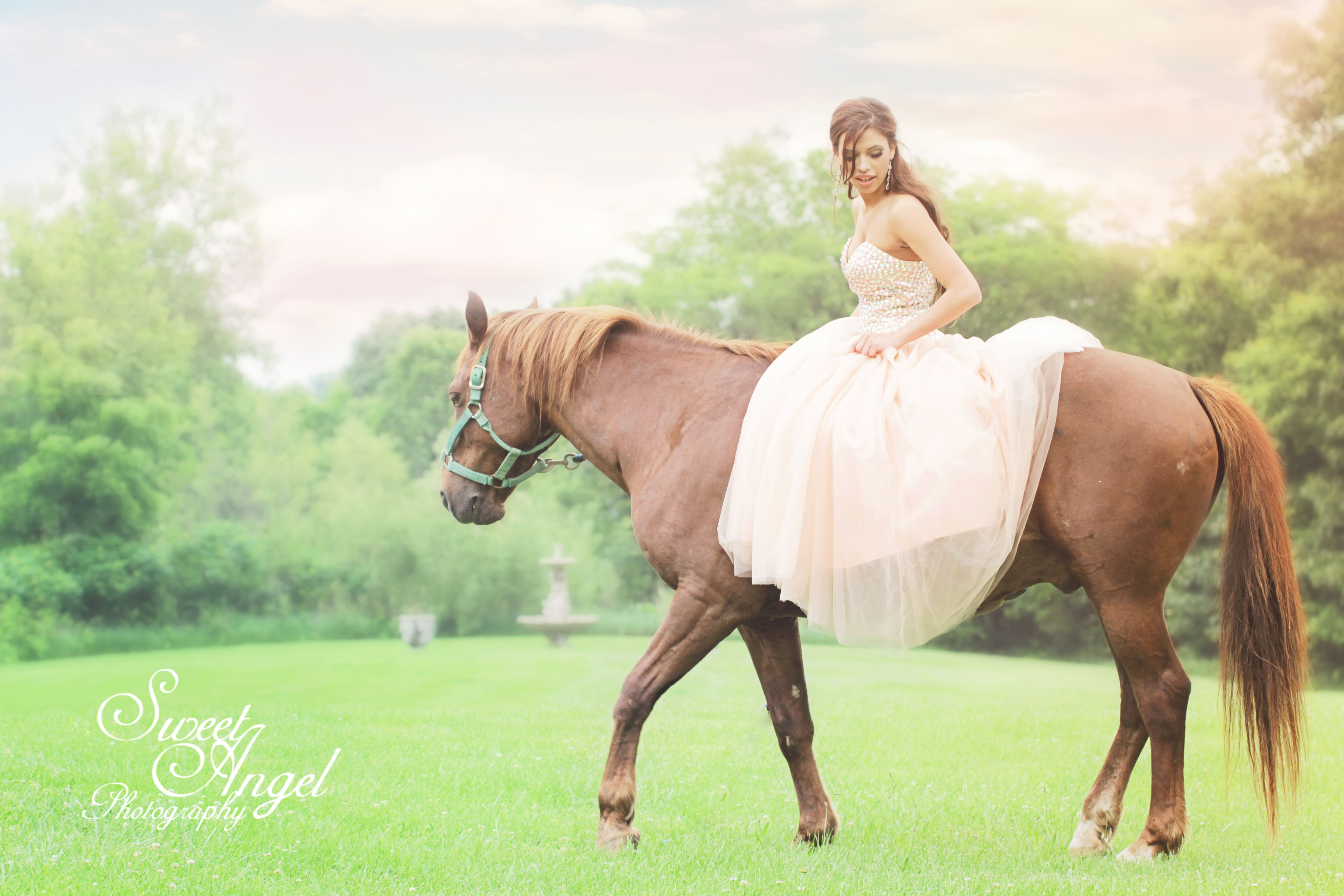 Horse sessions with teen girls wearing their prom dresses ...