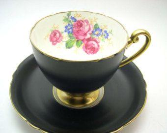 Antique Tuscan Tea Cup And Saucer  English tea set bone