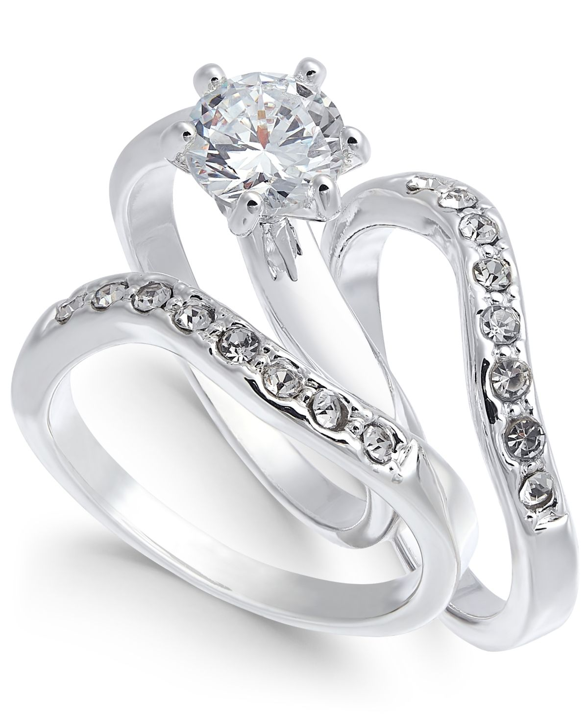 Charter Club Silver Tone Crystal Wavy Ring Created For Macy S