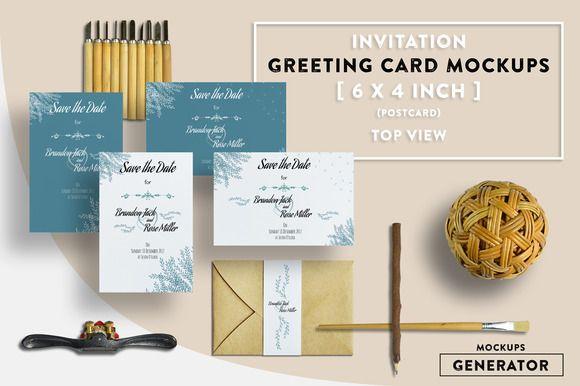 Invitation Greeting Card Mockups 6x4 By Kongkow On Creativemarket