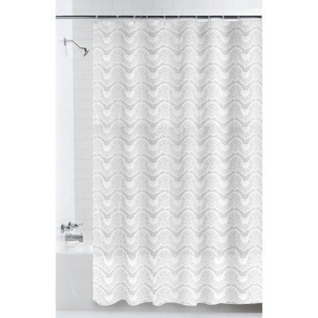 Mainstays Lace Stripe Peva Shower Curtain Size 70 Inch X 72 Inch White Curtains Shower Shower Curtains Walmart