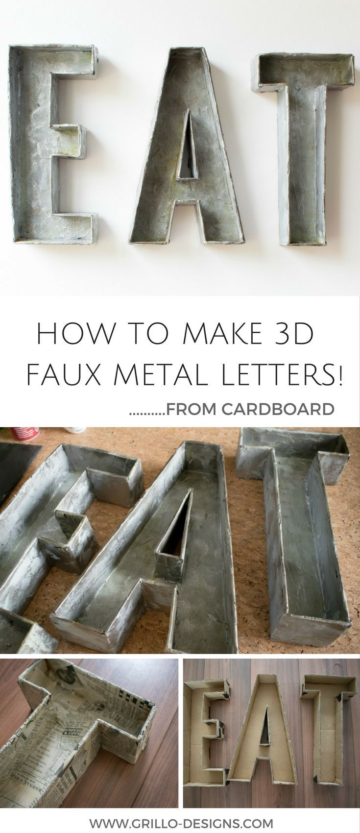 How To Make 3d Faux Metal Letters From Cardboard Industrial Decor Diy Metal Letters Diy Hanging Shelves