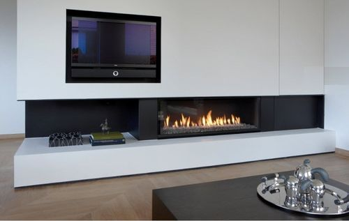 Chimenea moderna a gas mobles i decoraci interiors for Chimenea para tv