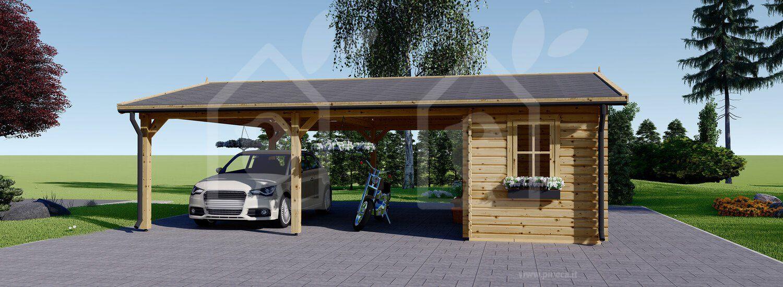Tettoia auto in legno + ripostiglio attrezzi (44 mm) 6x7