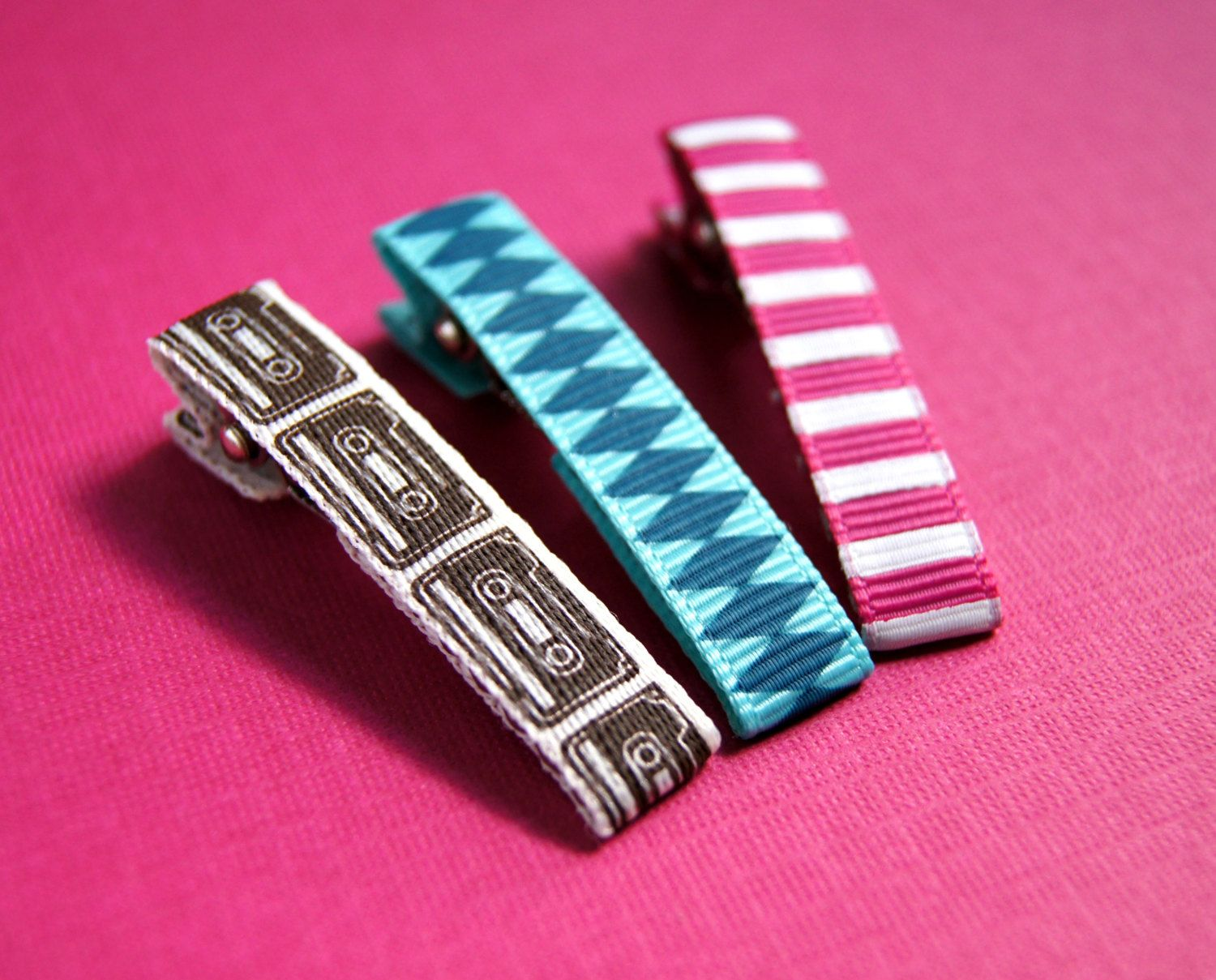 Girls Alligator Hair Clips - Cassette Tapes, Teal and Blue Diamonds, and Pink and White Stripes