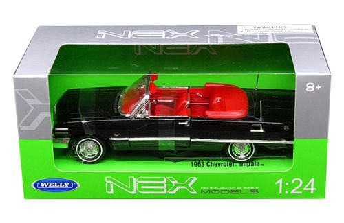 1963 Chevy Impala Convertible Red Welly 22434 1//24 Scale Diecast Model Toy Car