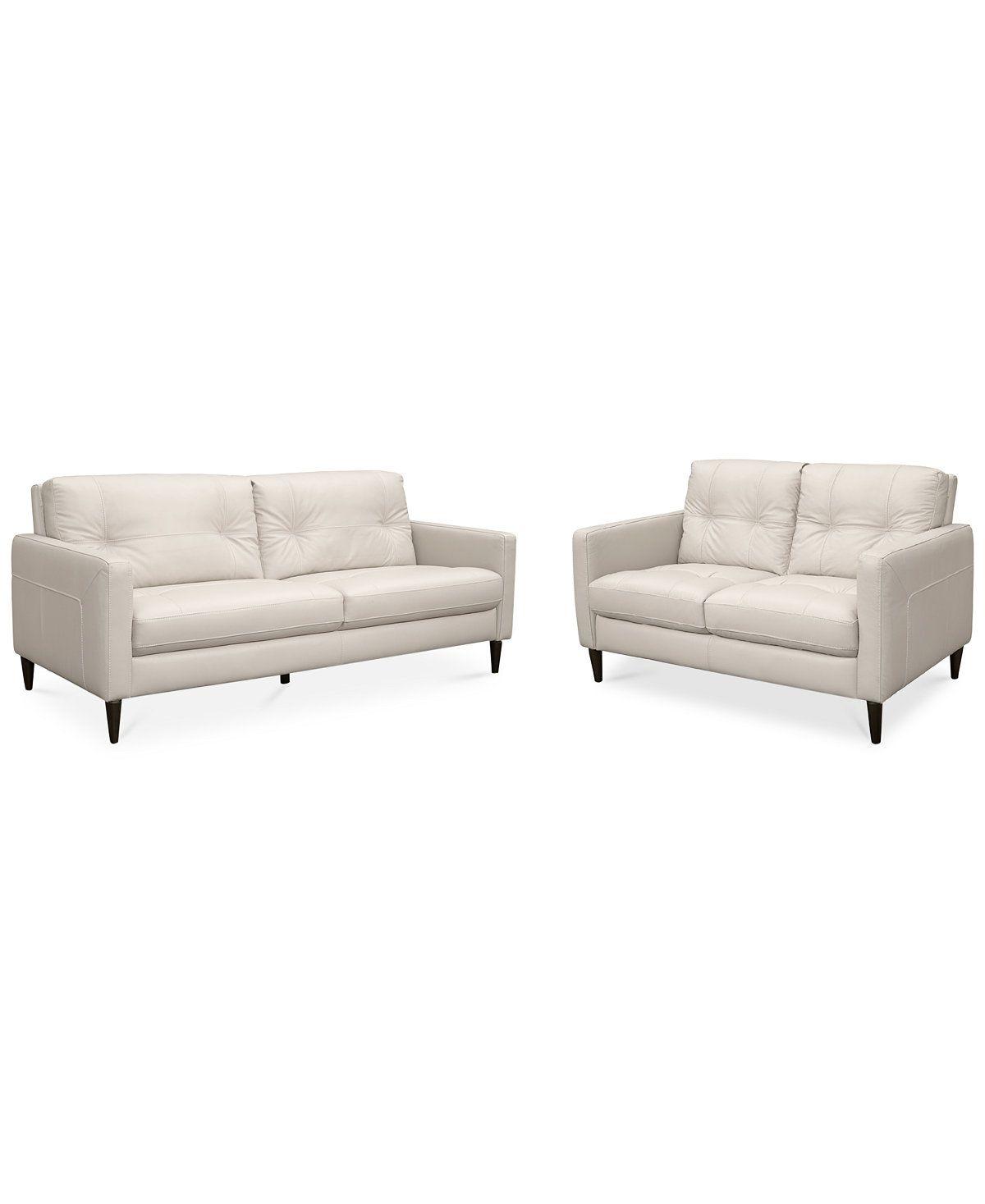 Keaton Leather Sofa Loveseat Set Couches Sofas Furniture Macy S