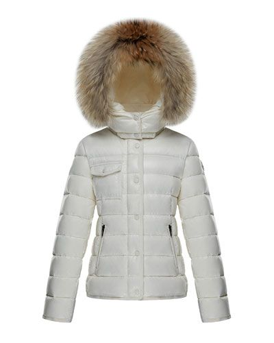 def872367 Moncler Armoise Quilted Hooded Coat w  Fur Trim