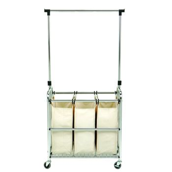Seville Classics Laundry Sorter Ii With Adjustable Hanger Bar