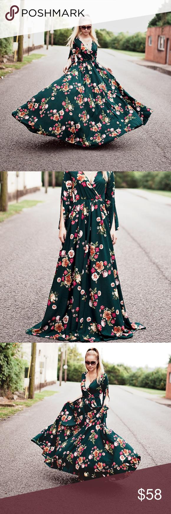 Boho Hunter Green Floral Plus Maxi Dress 2x Dresses 2x Dresses Maxi Dress [ 1740 x 580 Pixel ]
