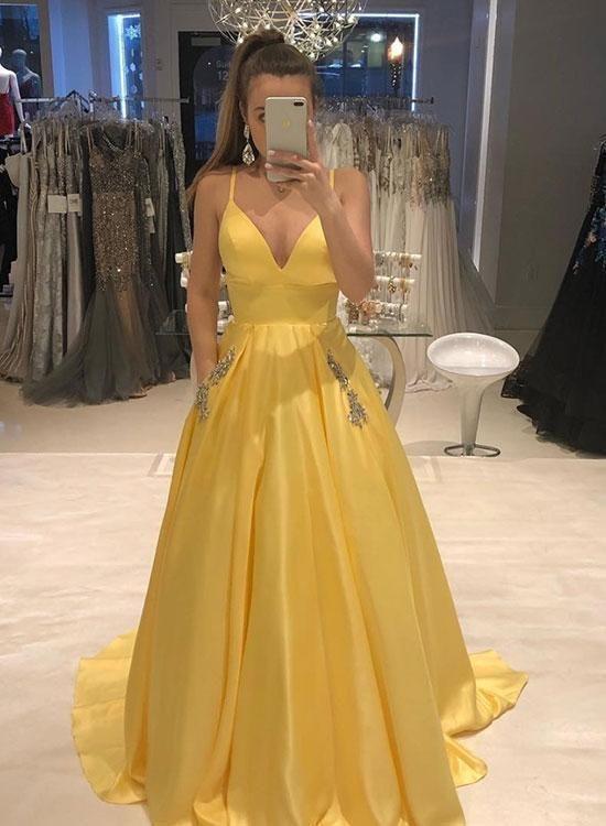 Yellow V Neck Satin Long Prom Dress Yellow Evening Dress 2019 Ball Black Bridesmaid Brokat Cocktail Cortos Vestidos Belos Vestidos Vestidos Bonitos