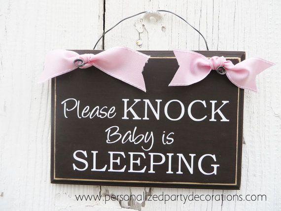 Please Knock Baby Is Sleeping Door Hanger Baby Shower Gift
