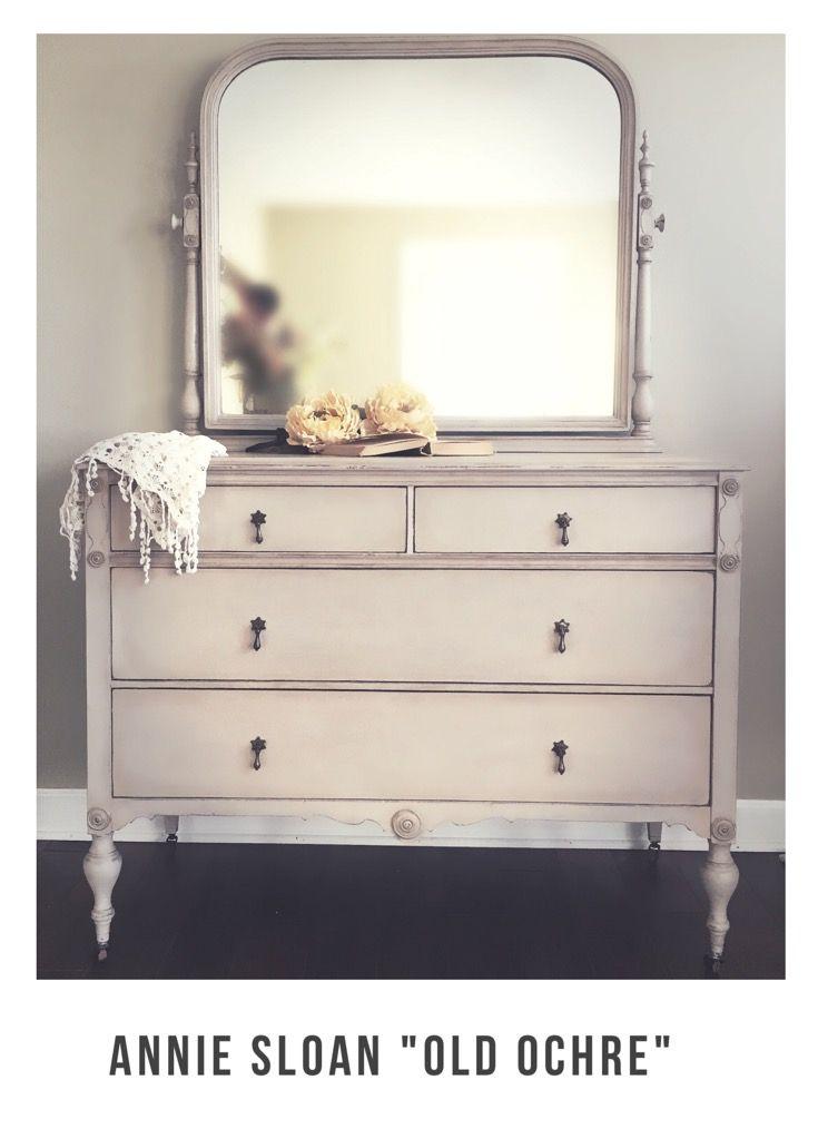 Antique Dresser With Mirror Refinished With Annie Sloan Chalk