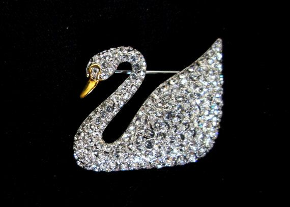 e240eeced5bb Swarovski 100th Anniversary Swan Pin by RuthsCollection on Etsy