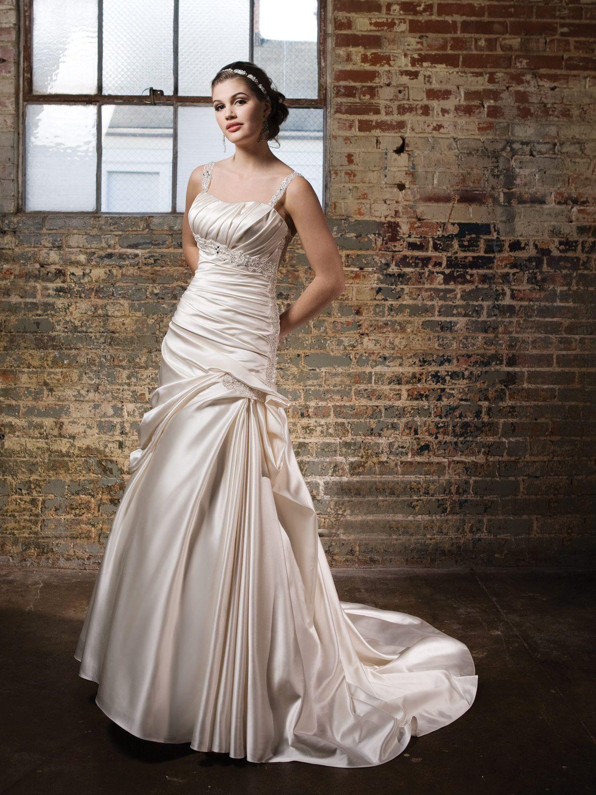 Where to find long sleeve wedding dresses  Square neck Aline satin bridal gown  dress  Pinterest  Bridal