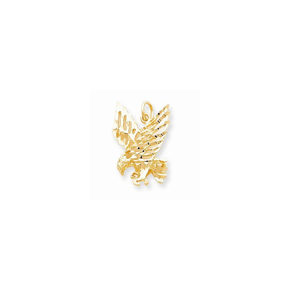 Casted 10k Yellow Gold Solid Diamond Cut Eagle Charm. This beautiful 10k gold charm is the perfect gift to someone special or as an addition to your own collection. Allure Jewelers has an extensive assortment of items, please feel free to browse through our other collections. All of Allure Jewelers items are backed with our No Risk 5-Star Satisfaction Guarantee. All Allure items are stamped and trademarked according to US laws. Items are guaranteed to be of true metal essay and as…