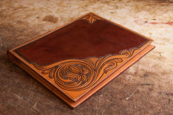 Hand Tooled Leather Portfolio Legal Pad Cover By Chapshop On