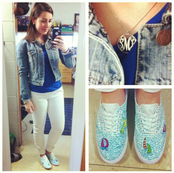 OOTD! Breaking out the white denim, although it is not after Memorial day, it is a beautiful day! Denim Jacket: American Eagle Blue long-sleeved top: J Crew White denim: Tommy Hilfiger Lilly Pulitzer You Gotta Regatta inspired sneakers Monogrammed Necklace