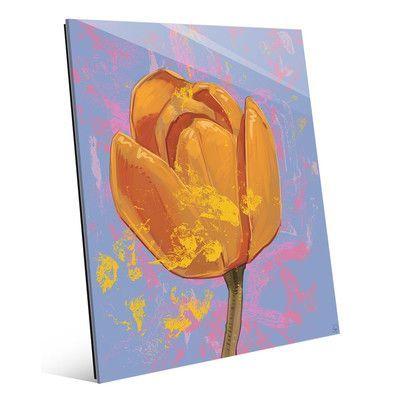"Click Wall Art 'Gold Tulip' Painting Print , Size: 14"" H x 11"" W x 1"" D"