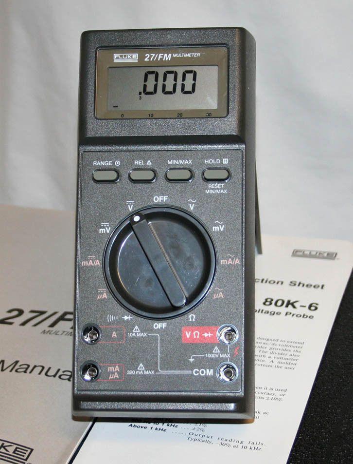 Fluke 27 Fm Multimeter W 80k 6 Hv Probe Leads Case Multimeter Led Case Led