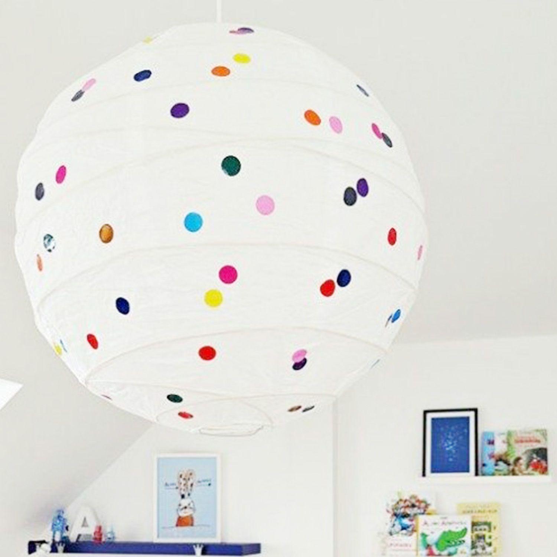 Lámpara #ikea de papel con topos de colores https://dolcevinilo.es ...