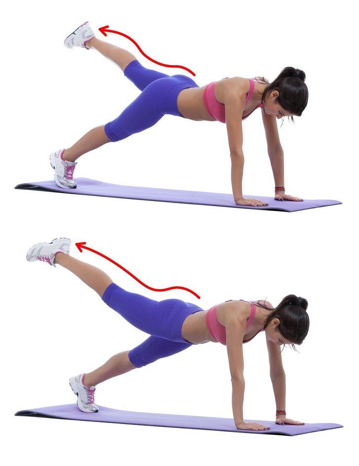 Планка с диагональным подъемом ног (с изображениями ...