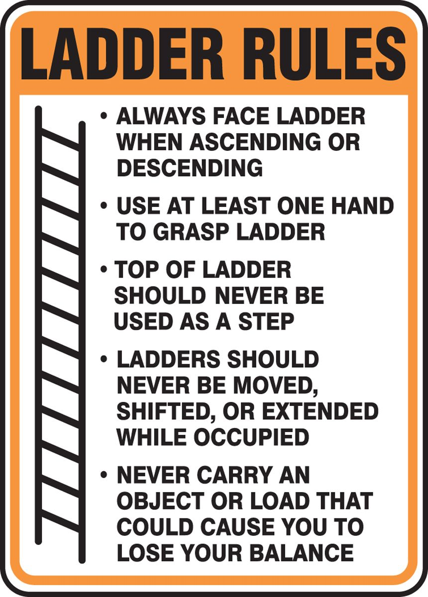 Ladder Rules Sign 1 Safety slogans, Workplace safety