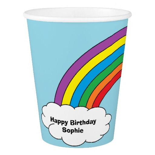 """Personalize these """"Rainbow Birthday"""" Paper Cups for your next party! Matches the """"Rainbow Birthday"""" ensemble! Ideal for cold and warm beverages alike. Sold in sets of 8."""