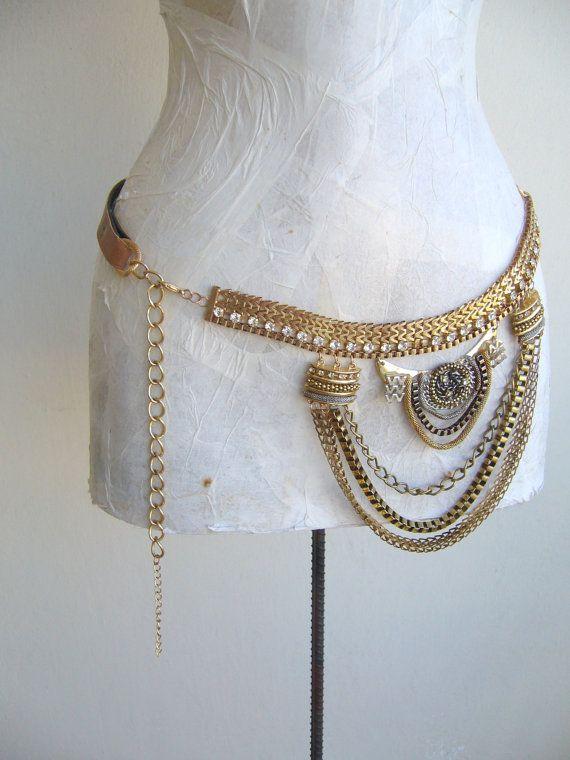 Chain belt gold/Metal belt gold tone / vintage belt upcycled/ethnic belt