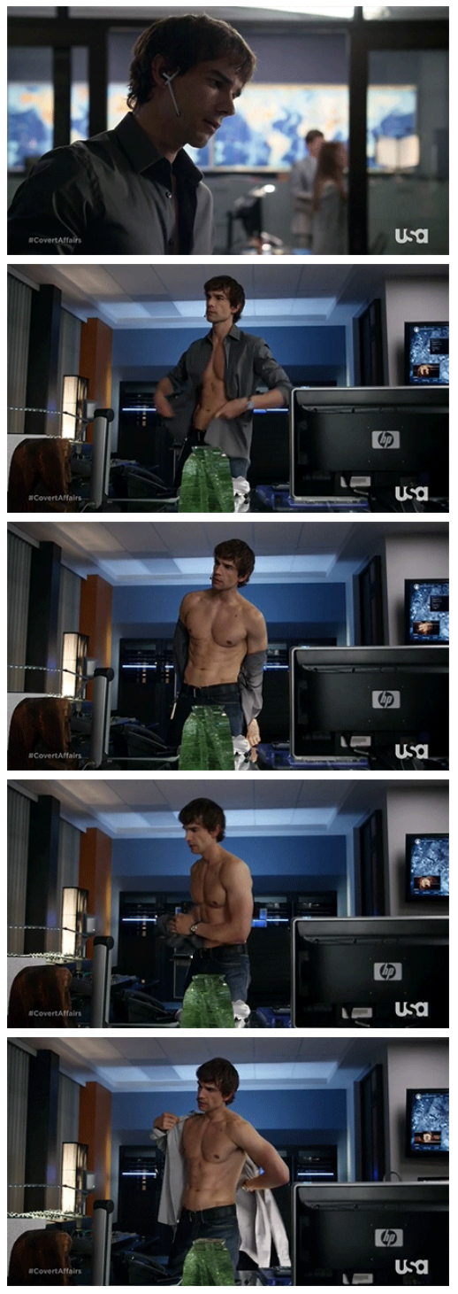 Because no CA board is complete without an image set of Auggie changing his shirt <3 (The animated gifs are even better so follow the image link to those :P)
