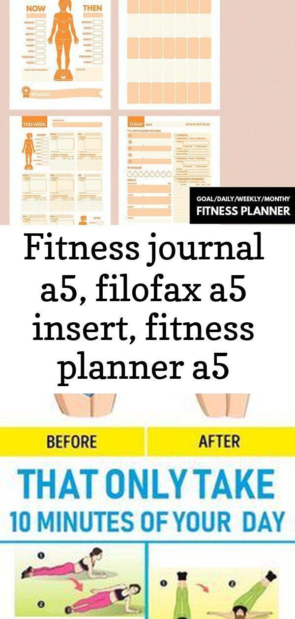 Fitness journal a5, filofax a5 insert, fitness planner a5 filofax insert, workout filofax planner, 4...