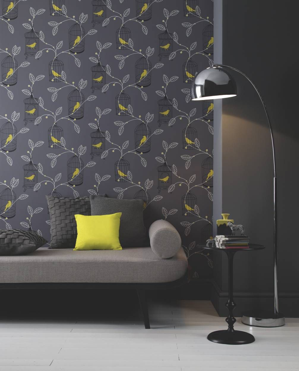 Team This Stiking Aviary Wallpaper With Yellow Accessories
