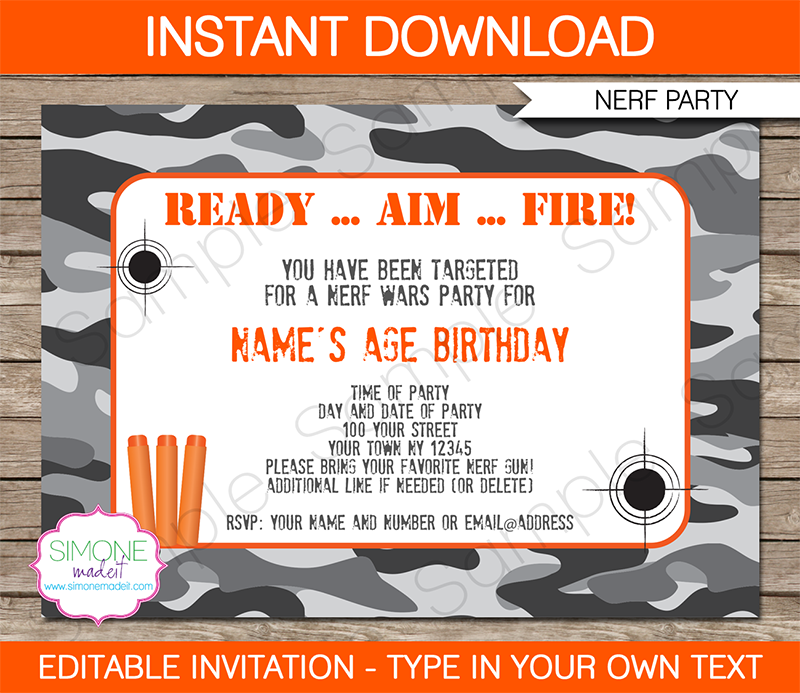 Nerf Party Invitations Template Nerf Party Party Invitations And - Party invitation template: nerf war party invitation template