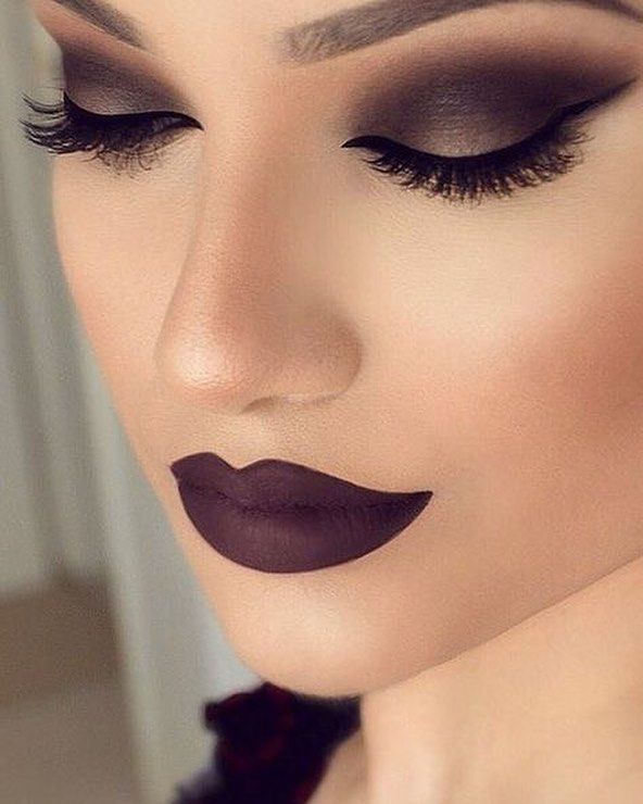 Beautiful makeup in shades of deep purple eye makeup perfect for all day long
