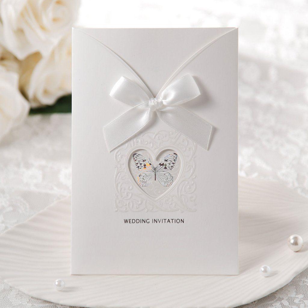White Ribbon Pocket Wedding Invitations – SW 3028 | ItsInvitation ...